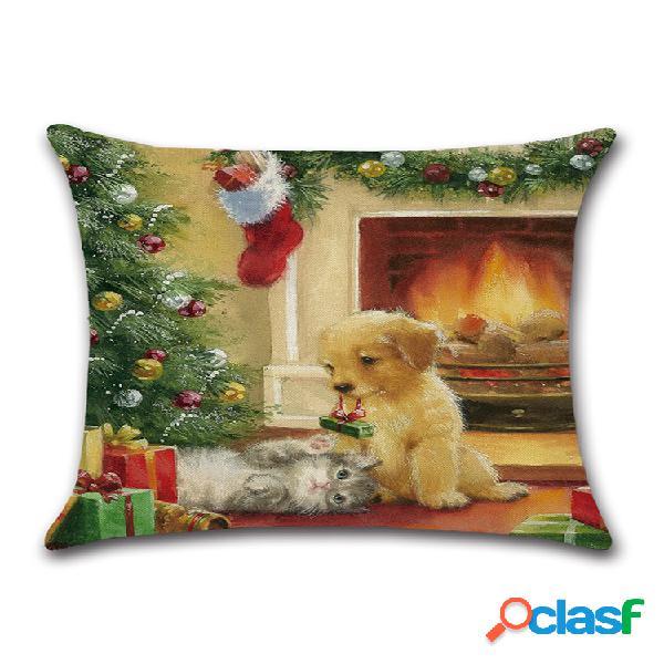 Rétro noël santa doggy lin jeter taie d'oreiller maison canapé housse de coussin noël cadeau décor