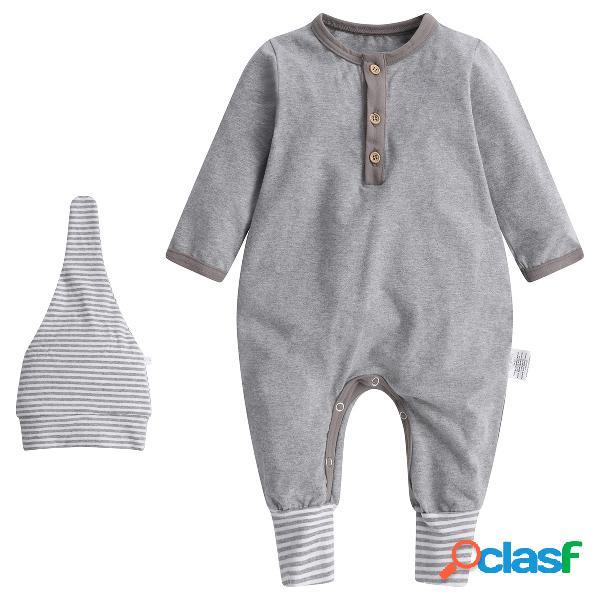 Combinaison et chapeau de pied convertible bio pour bébé de 0 à 12 mois