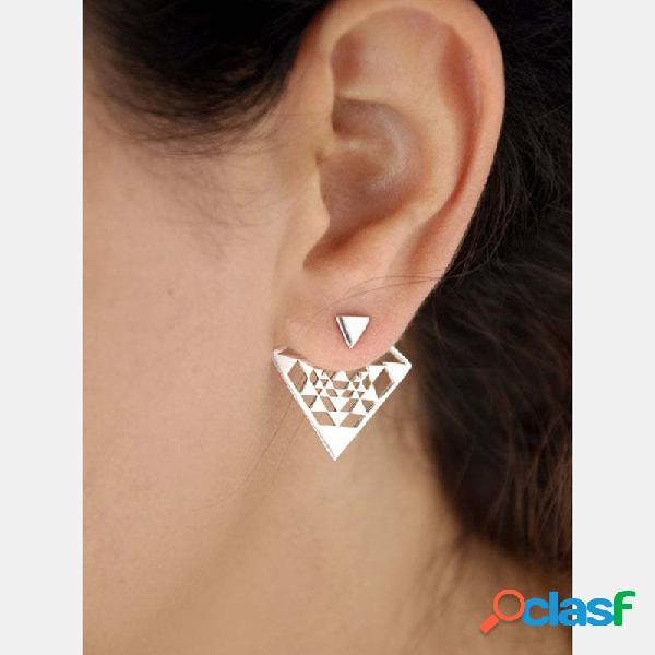 Boucles d'oreilles pendantes triangles à double usage avec goujon d'oreille géométrique bohème
