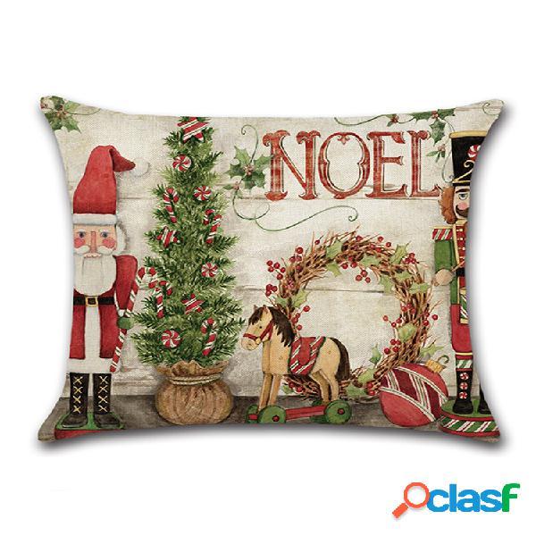 Dessin animé rétro noël père noël taie d'oreiller en lin maison canapé cadeau de noël art décor