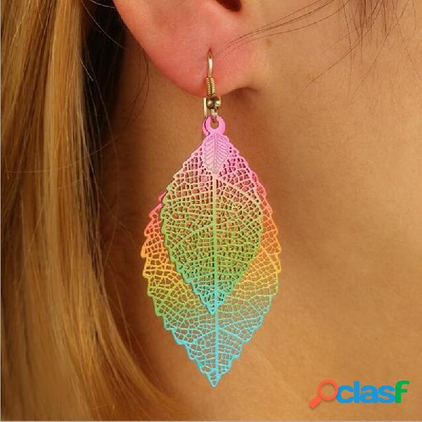 Boucles d'oreilles pendentif feuille double couche vintage colorful boucles d'oreilles plante creuse dégradé bijoux chic