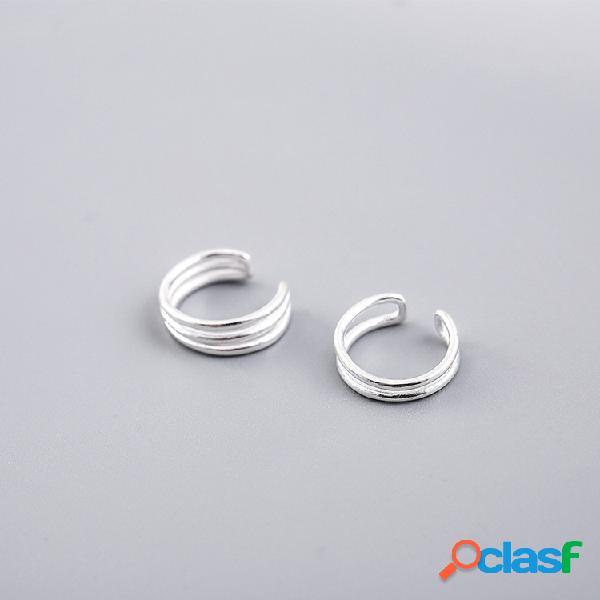 Simple 925 boucles d'oreilles en argent sterling double couche trois couches oreille clip doux boucles d'oreilles cadeau pour les filles