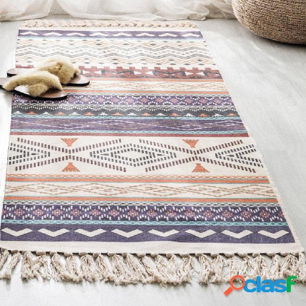 Rétro bohème main gland tissé coton lin tapis chevet tapis géométrique tapis de sol long tapis couvre-lit tapisserie décoration de la maison