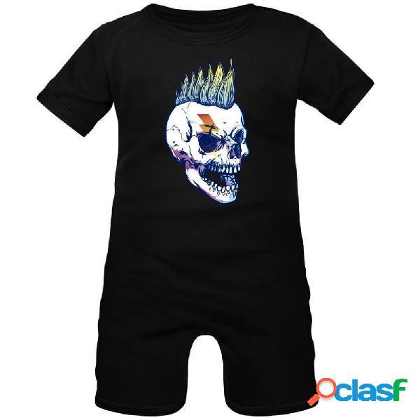 Barboteuse bébé: crane punk - noir 0-1 mois