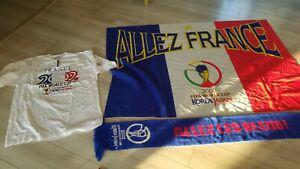 Lot drapeau écharpe tee shirt équipe de france 2002