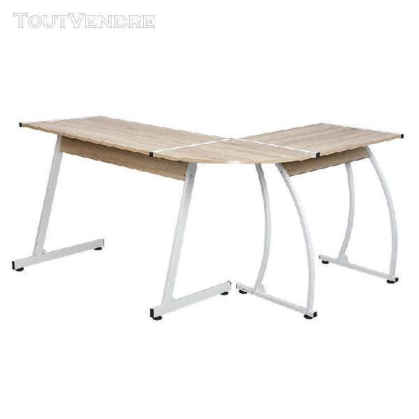 Bureau angle informatique oobest en métal et bois
