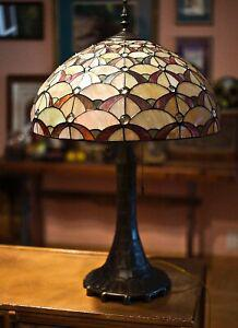Vintage large tiffany style stained glass 2 light table lamp