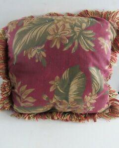 Vintage plush decorative couch or bed throw pillow~ red &