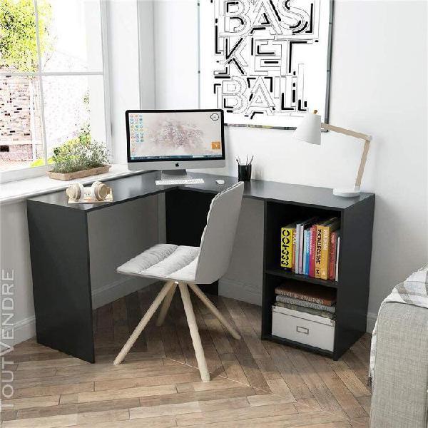 Bureau d'angle avec rangement 2 étagères, bureau