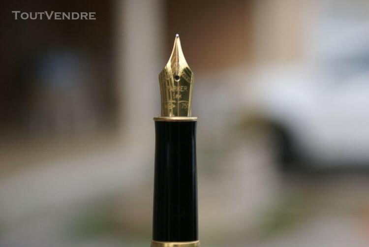 Superbe stylo plume 18 kts parker sonnet plaqué argent