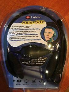 Labtec axis-502 deluxe stereo headset - brand new
