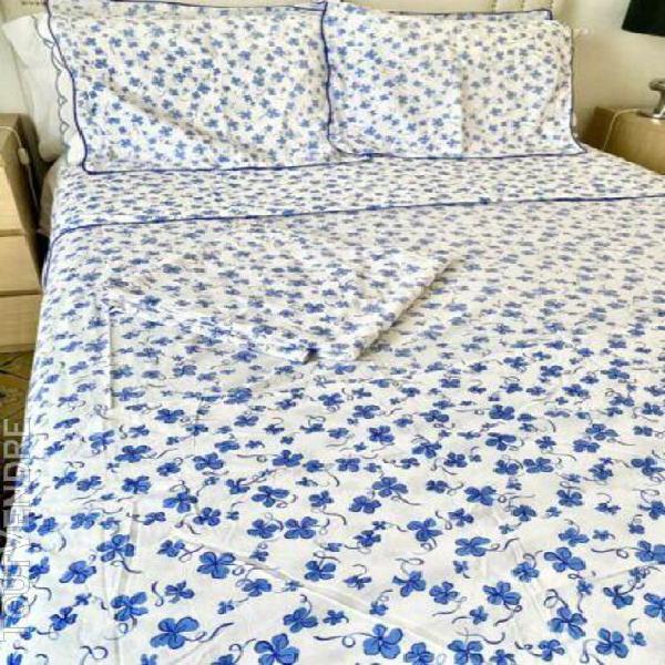 Vintage d porthault parure de lit 100% coton bleu