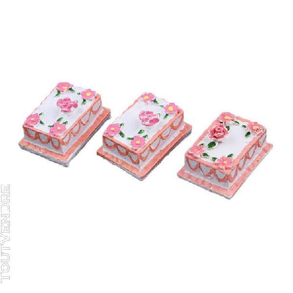 1/12 scale 3pcs miniature gâteau meubles de maison de