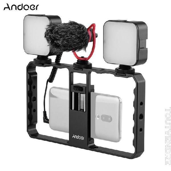 Andoer smartphone video rig grip avec rig dual led light mic