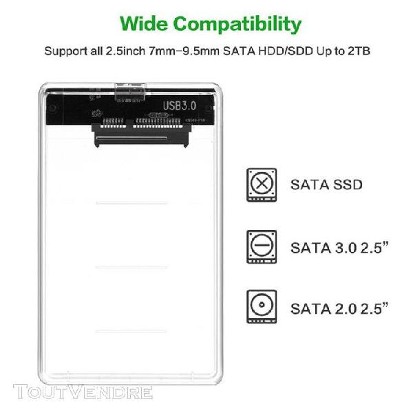 Transparent boîte de disque dur sata usb 3.0 hdd case 2.5