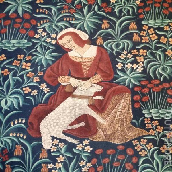 Grande peinture murale sur tissu/ motifs tapisserie ancienne
