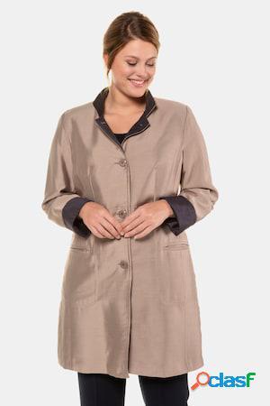 Manteau, léger, reflets fins, beaux boutons - grande taille