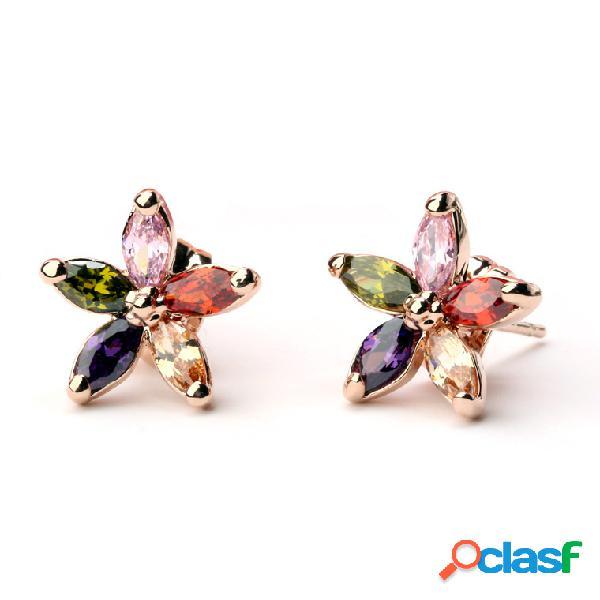Boucles d'oreilles en or rose de luxe coloré zircone fleur boucles d'oreilles classiques beaux bijoux pour les femmes