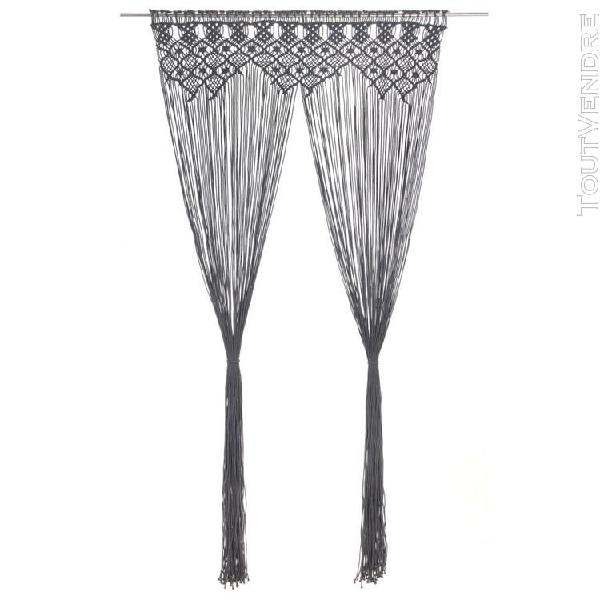 Vidaxl rideau en macramé anthracite 140x240 cm coton