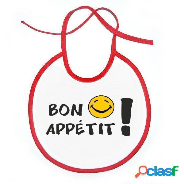 Bavoir bébé original: bon appétit ! - blanc avec bords roses