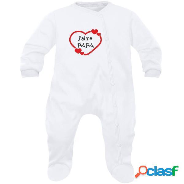 Pyjama bébé famille: j'aime papa (7 couleurs au choix) - rose 6-12 mois
