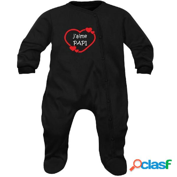 Pyjama bébé famille: j'aime papi (7 couleurs au choix) - noir 2-3 mois
