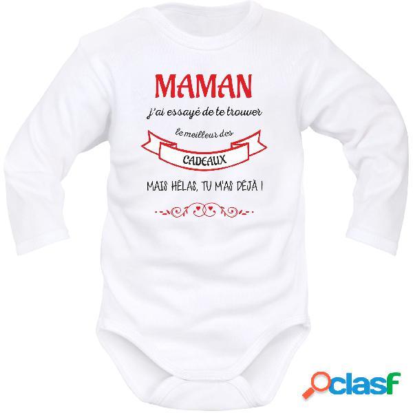 Body bébé original: maman j'ai essayé de te trouver le meilleur des cadeaux - blanc longues 0-1 mois