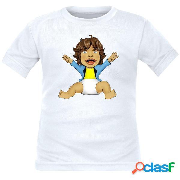 T-shirt enfant original: petit mick jagger - blanc 10 ans courtes