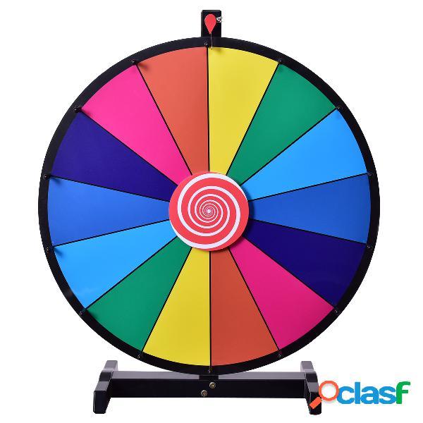 Costway roue de la fortune 24 pouce roue de loterie jeux de société avec stylo effaçable φ 60cm