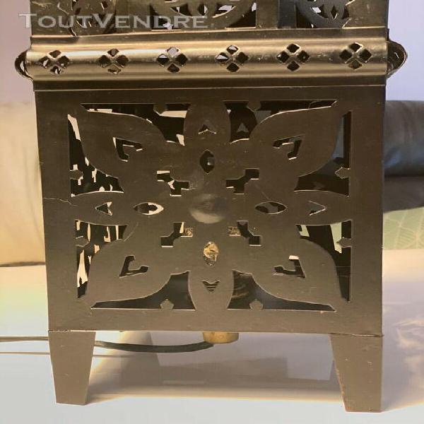 Lampe marocaine 50cm lanterne métal décoration fil noir