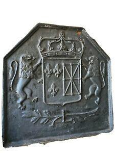 Plaque de cheminee fonte ancienne xvii/xviii ème armoiries