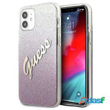 Coque guess glitter gradient script iphone 12 mini - rose