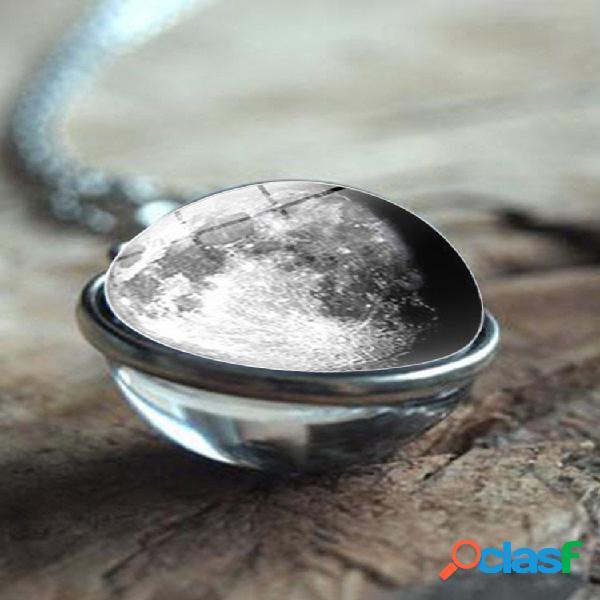 Double face boule de verre femmes collier gris galaxie planète pendentif collier bijoux