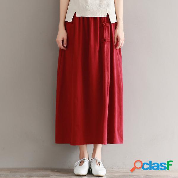 Rétro couleur unie couture coton et lin boucle élastique taille une jupe longue de type