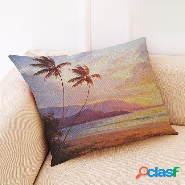 Housse de coussin de style cocotier de plage soft taie d'oreiller en lin de coton maison canapé décor de voiture