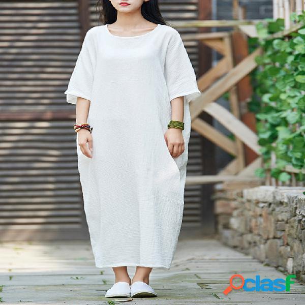 Robe vintage en couleur pure à demi-manches pour femme