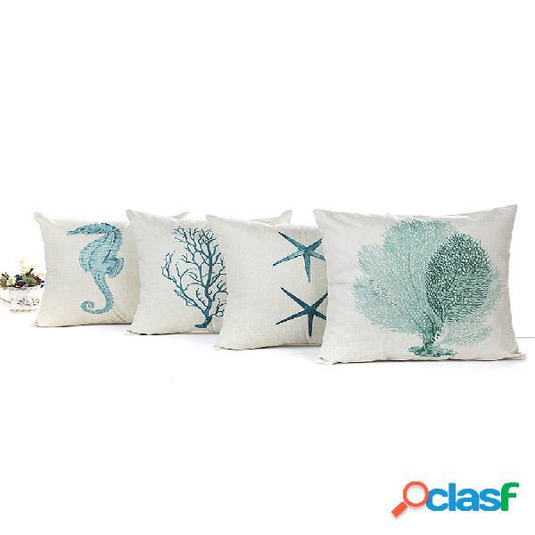 Housse de coussin en lin coton étoile de mer blue sea house soft taie d'oreiller décorative