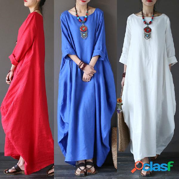 Robe ample en coton et lin grande taille