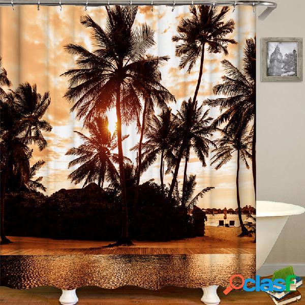 180 * 180cm rideau de douche design tropical / 3pcs tapis de bain tapis de bain ensemble chaud