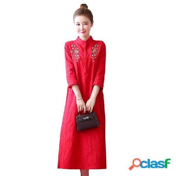 Broderie littéraire pour femmes col montant jacquard baseline mince coton lin robe longue