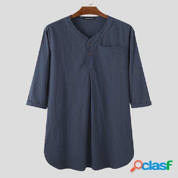Longue chemise henley design vêtements de nuit robe maison coton lin respirant loungewear avec poche poitrine
