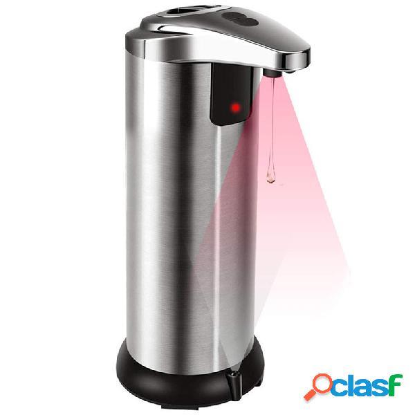 Distributeur de savon automatique, distributeur de savon sans contact équipé d'acier inoxydable, distributeur de savon à capteur de mouvement infrarouge avec 4 volumes de distribution réglabl