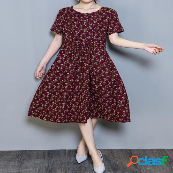 Casual floral print pocket robe courte à manches courtes pour femme