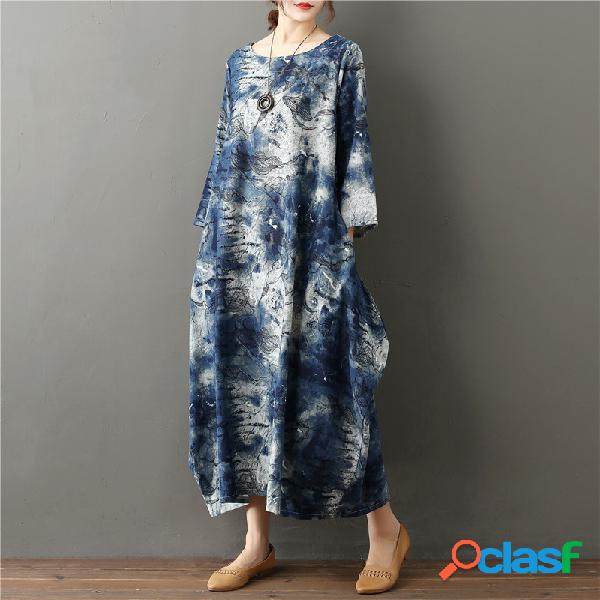 Plus taille impression littéraire pour femmes lâche décontracté rétro coton et robe en lin
