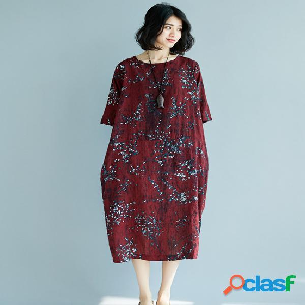 Robe vintage à manches courtes en lin et coton à la mode