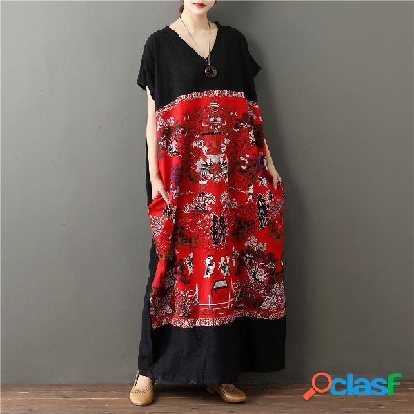 Coton et lin couture longue jupe tempérament robe style ethnique robe col en v