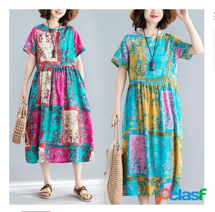 Coton et lin imprimé rides mince robe longue à col rond à manches courtes