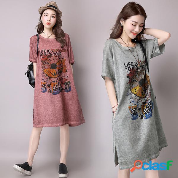 Robe ample à manches courtes en coton et lin imprimé