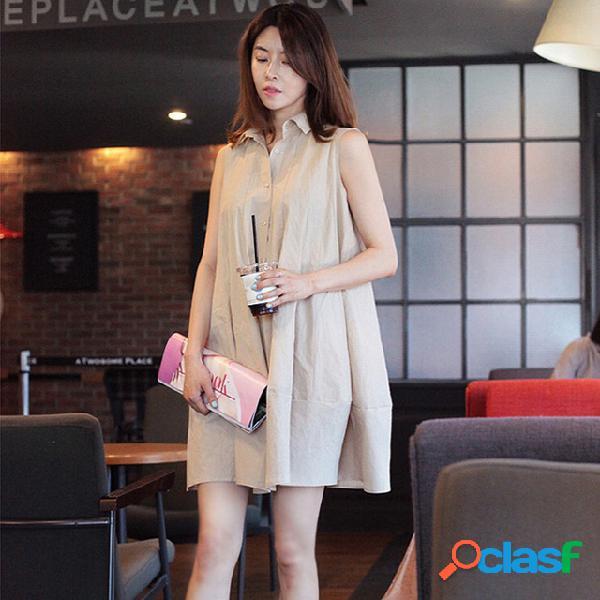 Robe en coton et lin femme étudiante coréenne décontractée décontractée sans manches