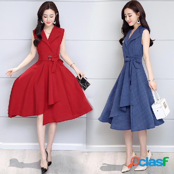 Cravate mince grande robe longue en coton et lin